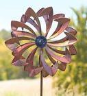 Kinetic Yard Garden Wind Spinner Flower Copper Color Sculptu