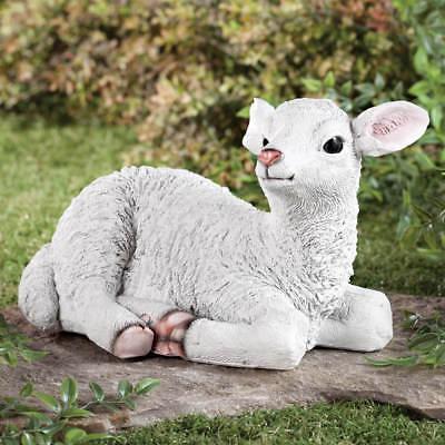 Lamb Statue Animal Sheep Laying Down Sculpture