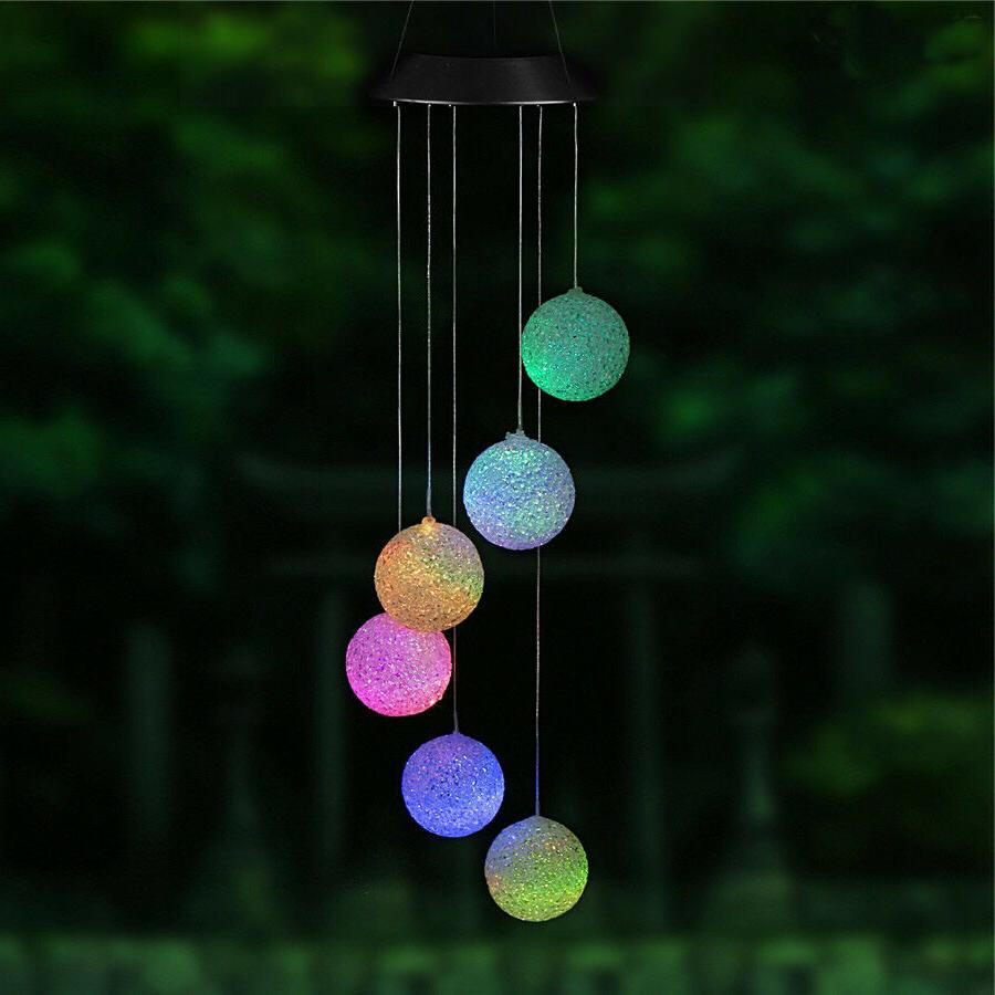 LED Color-Changing Power Wind Chimes Home Garden US
