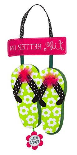 Evergreen Life is Better in Flip Flops Outdoor Safe Felt Doo