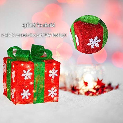 Namotu Lighted - Set of Christmas Lighted Green Gift Christmas Decorations Small/Medium/Large