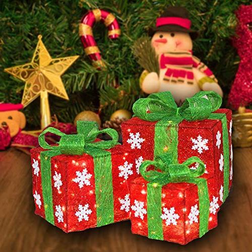 Namotu Lighted BoxSet - Set of 3 Christmas Green Gift Box Decorations