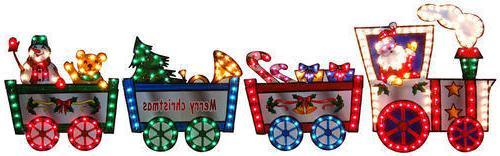 "Lighted Christmas Train SANTA CLAUS Outdoor Decoration 118"""