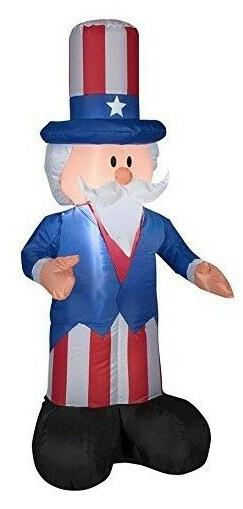 Lighted Inflatable Patriotic Uncle Sam Statue 4th of July Ou