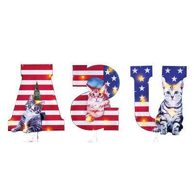 lighted patriotic cats usa garden