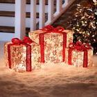 Outdoor Lighted Poinsettia Gift Boxes Christmas Presents Set