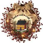Lighted Primitive Country Wreath, Red, by Collections Etc