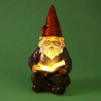 Lighted Reading Gnome Solar Light Garden Statue Ornament Decor