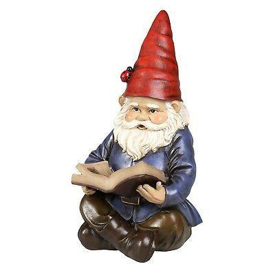 Lighted Reading Gnome Solar Statue Lawn Ornament Decor