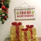 LED Lighted pre-lit Christmas decor. Presents Gift Boxes Spa