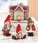 Set of 4 Lighted Snowball Fun Scene Christmas Tabletop Outdo