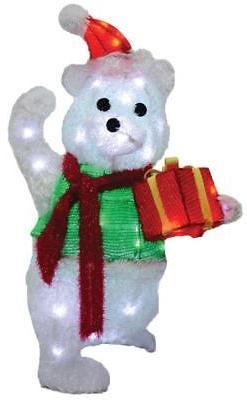 LIGHTED TEDDY BEAR GIFT BOX OUTDOOR CHRISTMAS Yard Decoratio