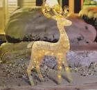 "48"" Lighted White Glitter Standing Buck Outdoor Christmas Ya"