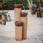 Linden Contemporary 3 Tiered Vase Fountain Made w/ Resin,Fib