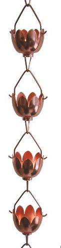Stanwood Rain Chain Lotus Lily Flower Copper Rain Chain, 8-F