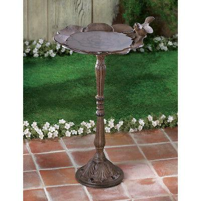 LOVELY ANTIQUE RUSTIC CAST IRON OUTDOOR GARDEN BIRDBATH WITH