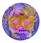 "Mardi Gras Mask Large 18"" Glass Decorative Serving Bowl for"