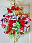 "Handmade Deco Mesh Elf Christmas Wreath 30"" BELIEVE Glitter"