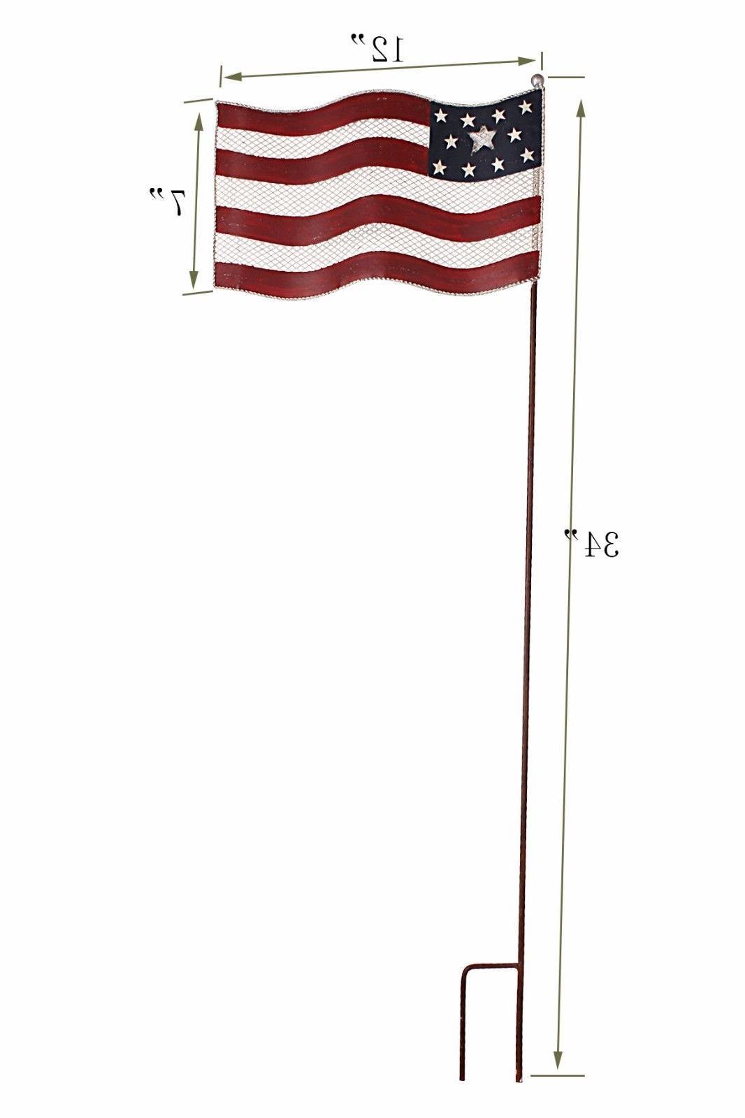 Metal American Glory Flying Flag Stake Memorial Day July 4th