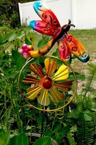 """Metal Garden Decor 24"""" Dragonfly Yard Art Pond Lawn Orname"""