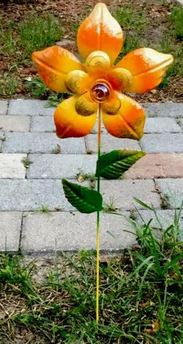 "Metal Garden Decor 24"" Sunflower Yard Art Pond Lawn Orname"