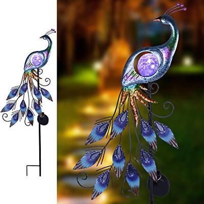 metal garden stake solar lights peacock outdoor