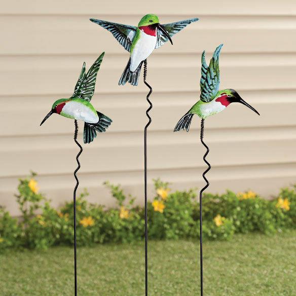 metal hummingbird yard stake lawn planter garden