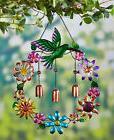 Metal Hummingbird Metallic Garden Wind Chimes Flowers Wreath