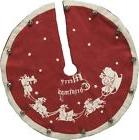 "Mini Vintage Merry Christmas Santa Sleigh Tree Skirt~12"" Dia"