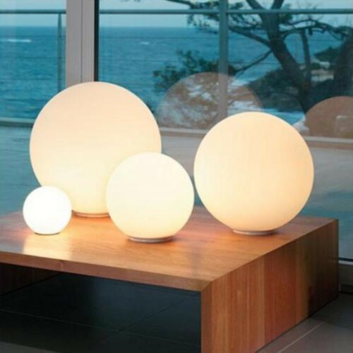 Modern Milky White Globe Glass Table Light Bedroom Desk Lamp