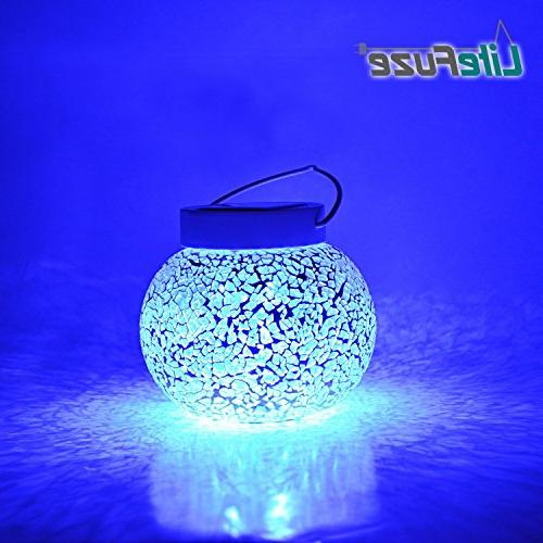 mosaic glass rechargeable solar lamp