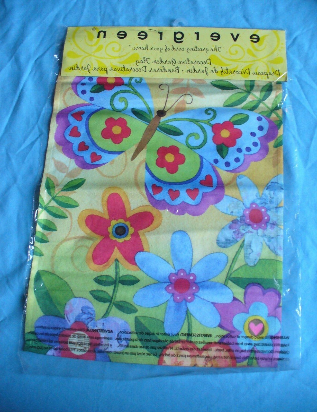 """New Evergreen Brand Butterfly & Flowers Decorative 17"""" X 1"""