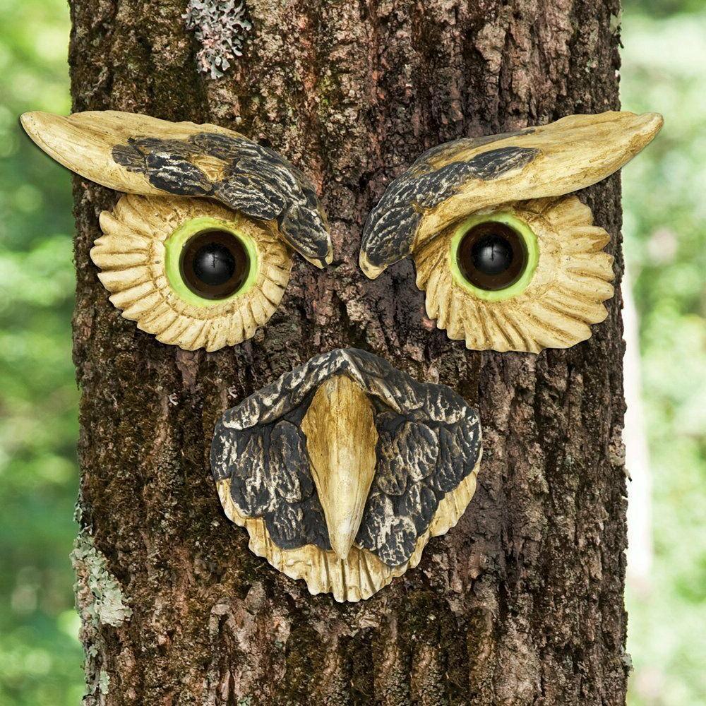 new owl face tree hugger garden decoration