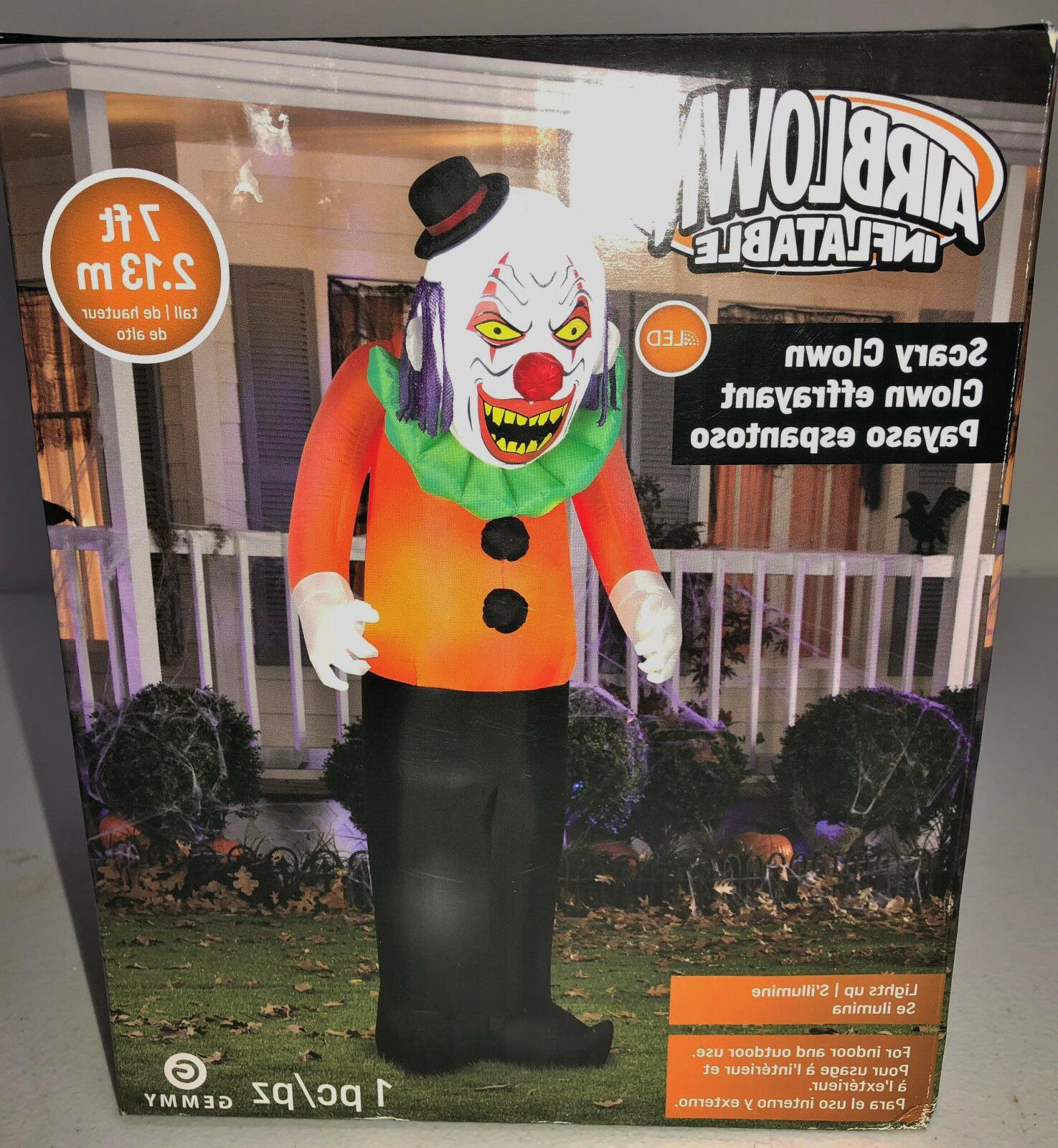 NIB Gemmy 7' Scary Clown Inflatable Party Yard