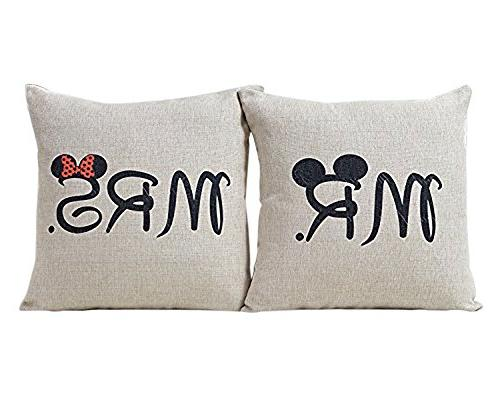 niceEshop Mickey Mouse Linen Throw Pillow Cover Home Solid S