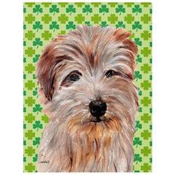 Norfolk Terrier Lucky Shamrock St. Patrick's Day Flag Canvas