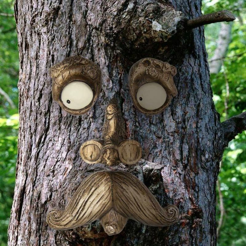 NEW Old Man Face Fun Tree Yard Art Garden Decoration Outdoor