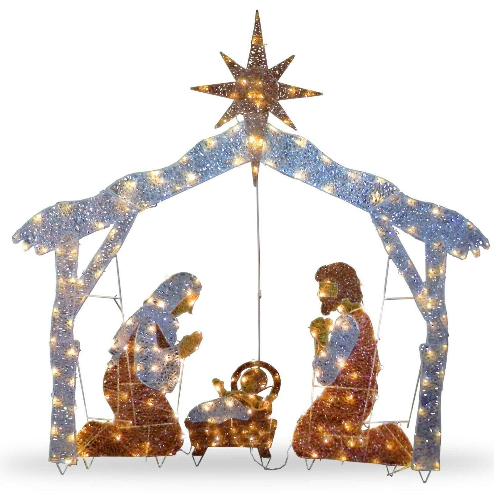 Outdoor Life Size Christmas Holiday Nativity Illuminated LED