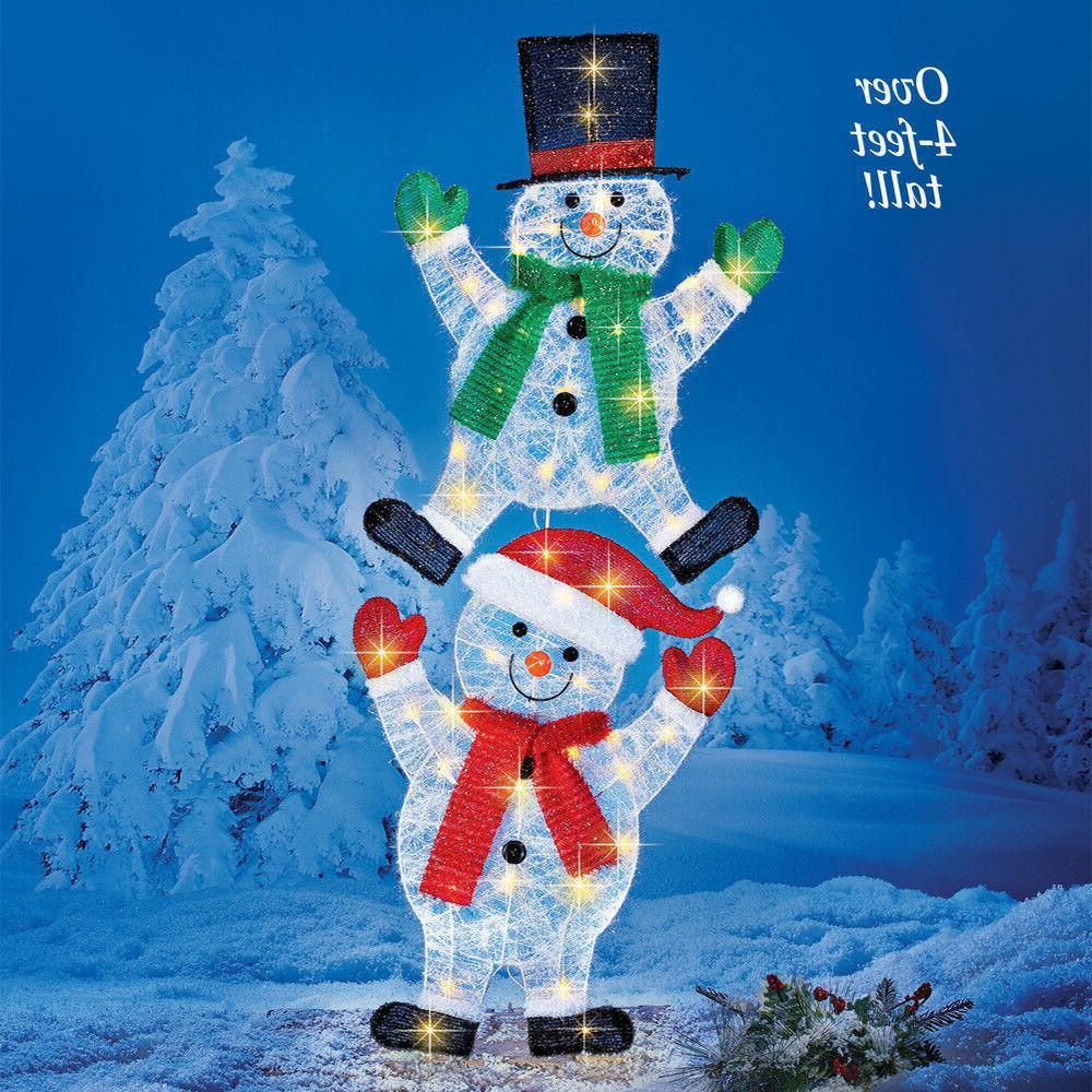 Yard Christmas Snowman Stake Outdoor Xmas Decoration Garden