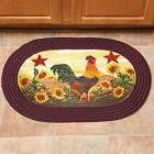 Oval Braided Rug Country Theme Sunflowers Rooster Decor Kitc