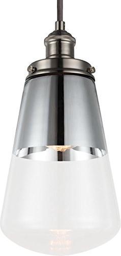 Feiss P1372PN Waveform Glass Pendant Lighting, Chrome, 1-Lig