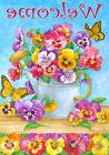 Pansy Watering Can Garden Flag Butterfly Floral Welcome  Ban