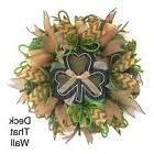St. Patrick's Day Mesh Wreath, Green Tan Poly Burlap Wreath,