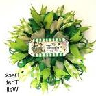 St. Patrick's Day Mesh Wreath, Green Ivory Wreath, Deck That