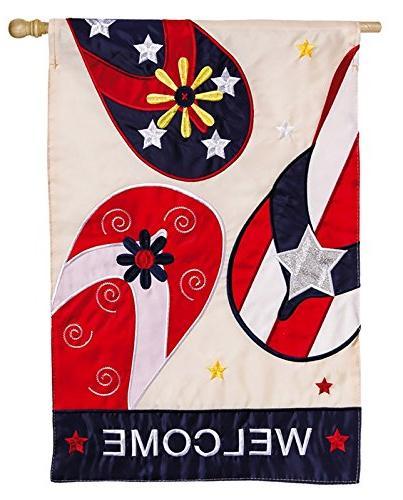 patriotic flip flop welcome applique