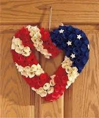 "13"" Patriotic Heart Wreaths"