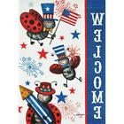 PATRIOTIC LADYBUGS LARGE PORCH FLAG 28 X 40 SEASONAL 10-1900