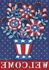 Patriotic Planter Welcome Garden Flag Red White and Blue Flo
