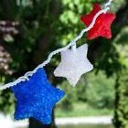 Patriotic Red/White/Blue Sparkle Stars 10 Count Lights 4th o
