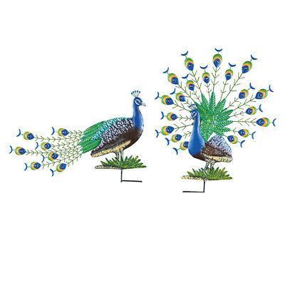 peacock garden stakes